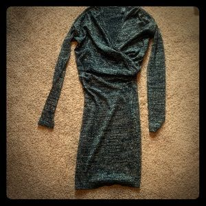 Black and Silver Wrap Dress
